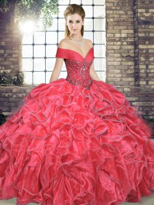 Vintage Floor Length Lace Up Sweet 16 Dress Coral Red for Military Ball and Sweet 16 and Quinceanera with Beading and Ruffles