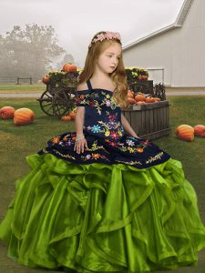 Elegant Floor Length Olive Green Little Girls Pageant Dress Wholesale Straps Sleeveless Lace Up