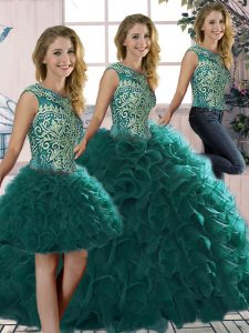 Floor Length Three Pieces Sleeveless Peacock Green 15th Birthday Dress Lace Up