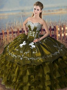 Sweetheart Sleeveless Lace Up Quinceanera Dress Olive Green Organza