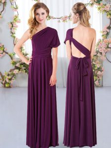 Chic Floor Length Criss Cross Vestidos de Damas Dark Purple for Wedding Party with Ruching