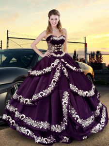 Customized Purple Lace Up Sweetheart Embroidery and Ruffled Layers Ball Gown Prom Dress Satin and Silk Like Satin Sleeveless