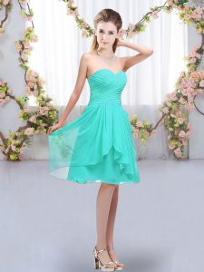 Turquoise Sleeveless Knee Length Ruffles and Ruching Lace Up Quinceanera Court of Honor Dress
