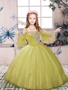 Straps Sleeveless Tulle Little Girls Pageant Gowns Beading Lace Up