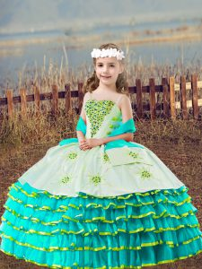 Aqua Blue Straps Lace Up Beading and Embroidery and Ruffled Layers Girls Pageant Dresses Sleeveless