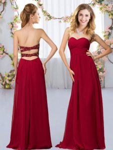 Super Wine Red Empire Sweetheart Sleeveless Chiffon Floor Length Criss Cross Beading Quinceanera Court of Honor Dress