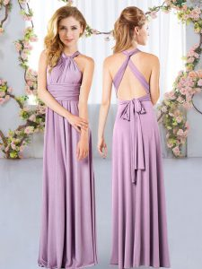 Spectacular Lavender Halter Top Criss Cross Ruching Quinceanera Court of Honor Dress Sleeveless