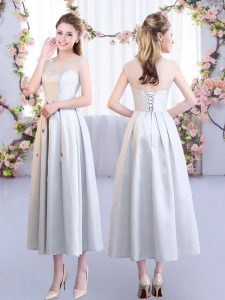 Eye-catching Tea Length Lace Up Court Dresses for Sweet 16 Silver for Wedding Party with Appliques