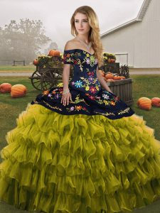 Cheap Olive Green Off The Shoulder Lace Up Embroidery and Ruffled Layers 15 Quinceanera Dress Sleeveless