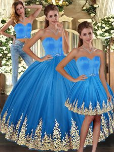 Floor Length Baby Blue Sweet 16 Quinceanera Dress Tulle Sleeveless Embroidery