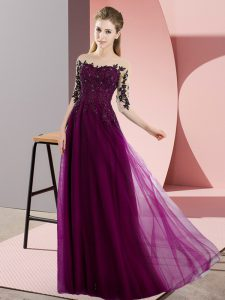 Fuchsia Bateau Lace Up Beading and Lace Quinceanera Dama Dress Half Sleeves