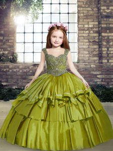 Straps Sleeveless Lace Up Little Girls Pageant Gowns Olive Green Taffeta