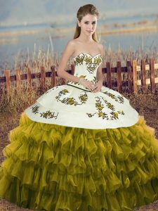 Sweetheart Sleeveless Sweet 16 Dress Floor Length Embroidery and Ruffled Layers and Bowknot Olive Green Organza