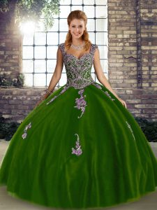 Custom Designed Floor Length Ball Gowns Sleeveless Olive Green Quinceanera Gowns Lace Up