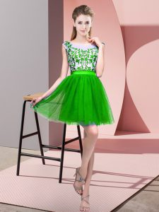 Mini Length Zipper Dama Dress for Quinceanera Green for Wedding Party with Lace