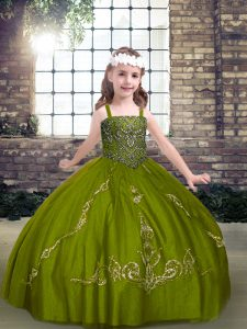 Olive Green Ball Gowns Straps Sleeveless Tulle Floor Length Lace Up Beading Kids Pageant Dress