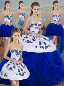 Royal Blue Sweet 16 Dresses Military Ball and Sweet 16 and Quinceanera with Embroidery and Ruffles and Bowknot Sweetheart Sleeveless Lace Up