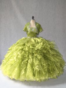 Olive Green Organza Lace Up Scoop Sleeveless Floor Length Quince Ball Gowns Beading and Ruffles