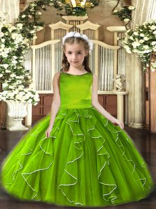 Olive Green Little Girls Pageant Dress Party and Wedding Party with Ruffles Scoop Sleeveless Lace Up