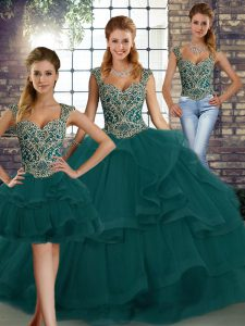 Peacock Green Ball Gown Prom Dress Military Ball and Sweet 16 and Quinceanera with Beading and Ruffles Straps Sleeveless Lace Up