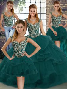 Customized Peacock Green Sweet 16 Dress Military Ball and Sweet 16 and Quinceanera with Beading and Ruffles Straps Sleeveless Lace Up