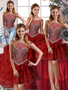 Modern Scoop Sleeveless Vestidos de Quinceanera Brush Train Beading and Pick Ups Wine Red Organza