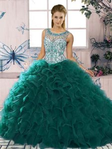 Organza Scoop Sleeveless Lace Up Beading and Ruffles Sweet 16 Dresses in Peacock Green