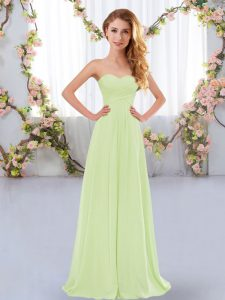 Discount Yellow Green Damas Dress Wedding Party with Ruching Sweetheart Sleeveless Lace Up