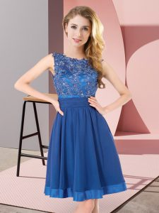 Blue Sleeveless Mini Length Beading and Appliques Backless Damas Dress