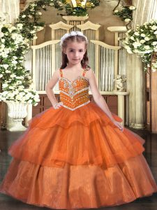 Ruffled Layers Little Girls Pageant Dress Orange Lace Up Sleeveless Floor Length