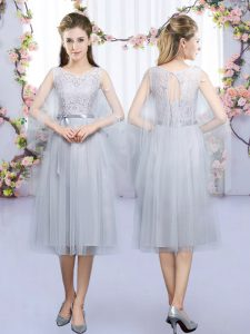 Tea Length Lace Up Quinceanera Dama Dress Grey for Wedding Party with Lace and Belt