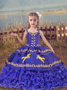 Blue Lace Up Little Girl Pageant Gowns Beading and Embroidery and Ruffled Layers Sleeveless Floor Length