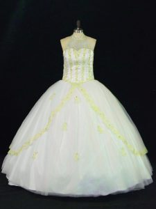 Smart Floor Length Lace Up 15 Quinceanera Dress Yellow And White for Sweet 16 and Quinceanera with Appliques