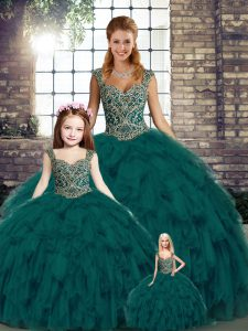 Beading and Ruffles Sweet 16 Dress Peacock Green Lace Up Sleeveless Floor Length