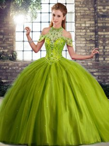 Olive Green Ball Gowns Beading Quinceanera Dresses Lace Up Tulle Sleeveless