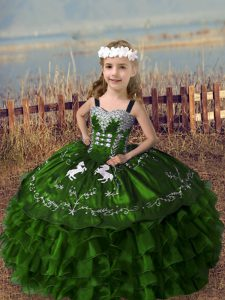 Graceful Straps Sleeveless Child Pageant Dress Floor Length Embroidery and Ruffled Layers Olive Green Organza