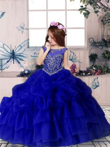 Floor Length Royal Blue Little Girl Pageant Dress Organza Sleeveless Beading and Pick Ups