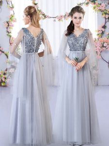 Best Selling Tulle Sleeveless Floor Length Quinceanera Court Dresses and Appliques