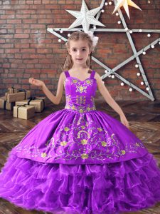 Lavender Lace Up Straps Embroidery and Ruffled Layers Kids Formal Wear Satin and Organza Sleeveless