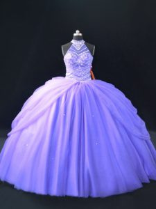 Comfortable Beading Quince Ball Gowns Lavender Lace Up Sleeveless Floor Length
