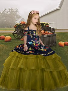 Olive Green Lace Up Kids Formal Wear Embroidery and Ruffled Layers Sleeveless Floor Length
