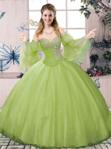 Charming Floor Length Ball Gowns Long Sleeves Olive Green Quinceanera Gown Lace Up