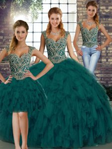 Exquisite Floor Length Peacock Green Quince Ball Gowns Straps Sleeveless Lace Up