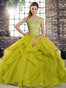 Comfortable Olive Green Quinceanera Gowns Off The Shoulder Sleeveless Brush Train Lace Up