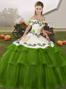Olive Green Ball Gown Prom Dress Off The Shoulder Sleeveless Brush Train Lace Up