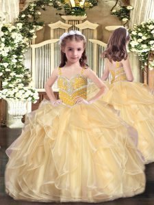 Straps Sleeveless Child Pageant Dress Floor Length Beading and Ruffles Gold Organza