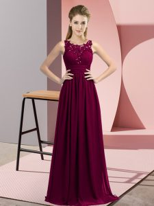 Captivating Chiffon Sleeveless Floor Length Court Dresses for Sweet 16 and Beading and Appliques