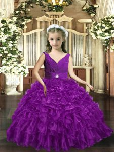 Eggplant Purple Backless V-neck Ruffles Little Girl Pageant Dress Organza Sleeveless