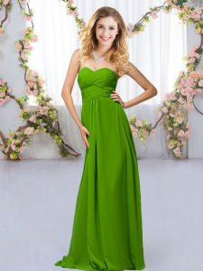 Inexpensive Floor Length Empire Sleeveless Green Quinceanera Dama Dress Criss Cross