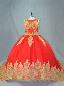 Appliques Quince Ball Gowns Red Lace Up Sleeveless Court Train
